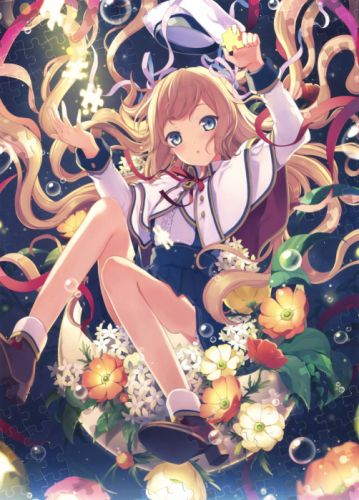 anime original girl beautiful cute blonde flower wallpaper