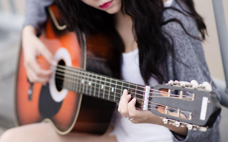 guitar girl mood romance autumn beauty wallpaper