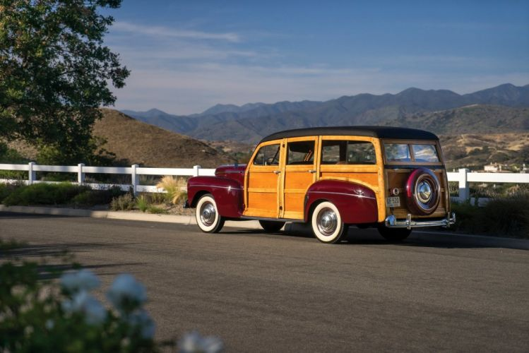 1942 Ford V8 Super Deluxe Station Wagon cars classic wood wallpaper