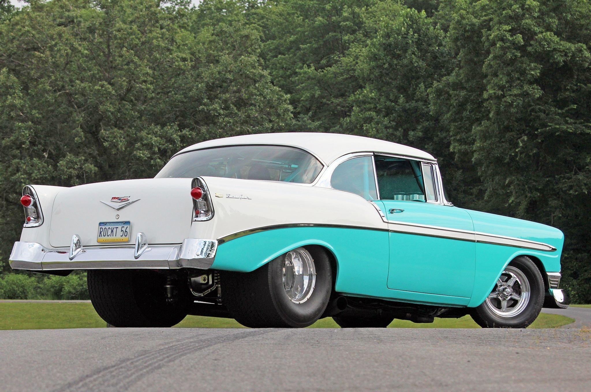 1956 chevrolet chevy bel air coupe hardtop streetrod street rod pro hot drag usa 07 wallpaper