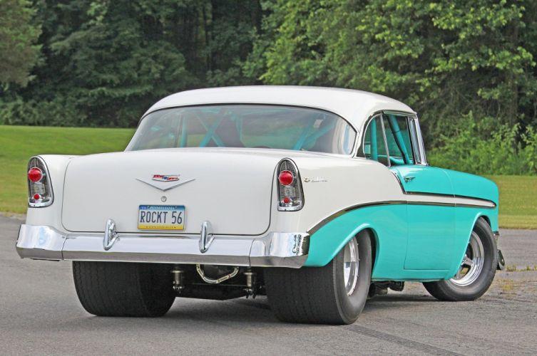 1956 Chevrolet Chevy Bel Air Coupe Hardtop Streetrod Street Rod Pro Hot Drag USA -09 wallpaper