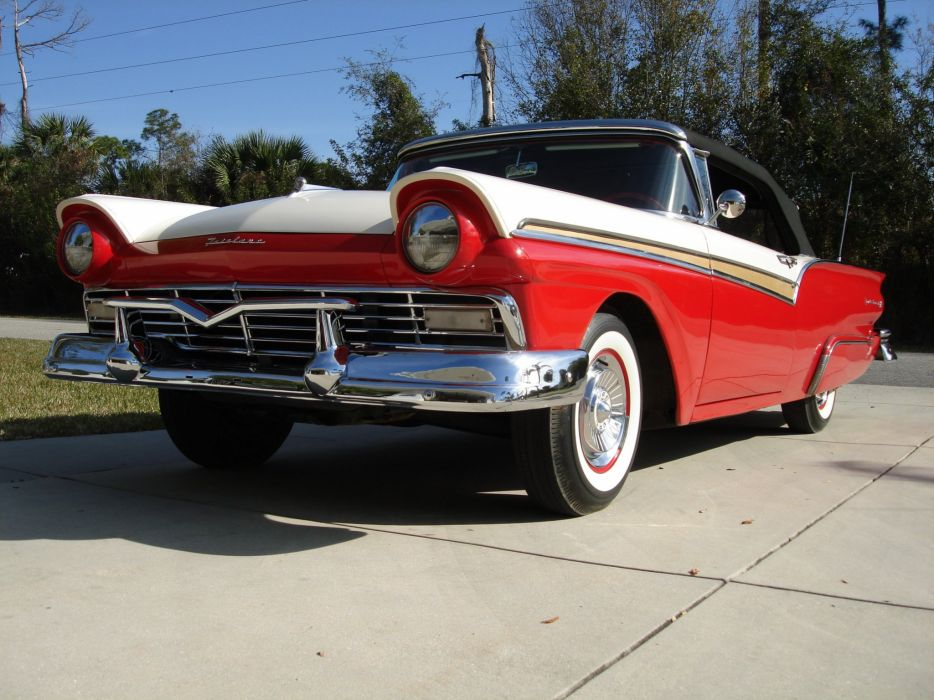 1957 Ford Fairlane 500 Convertible luxury retro d wallpaper
