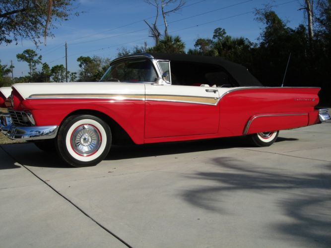 1957 Ford Fairlane 500 Convertible luxury retro d wallpaper