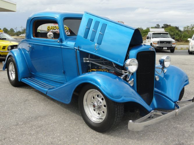 1933 Chevy Three Window Coupe custom hot rod rods retro vintage d wallpaper