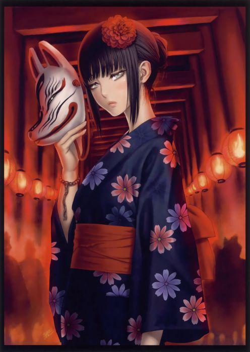 original anime girl kimono mask beauty beautiful wallpaper