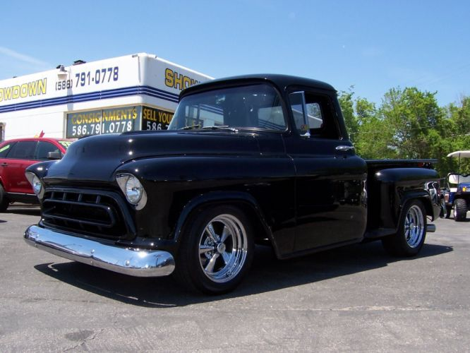 1957 Chevrolet 3100 Step Side hot rod rods custom retro pickup d wallpaper