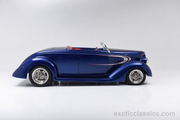 1936 Ford Custom Street Rod Roadster classic cars blue wallpaper