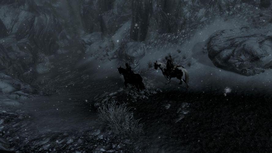 The Elder Scrolls V Skyrim Horse Snow Hunter wallpaper