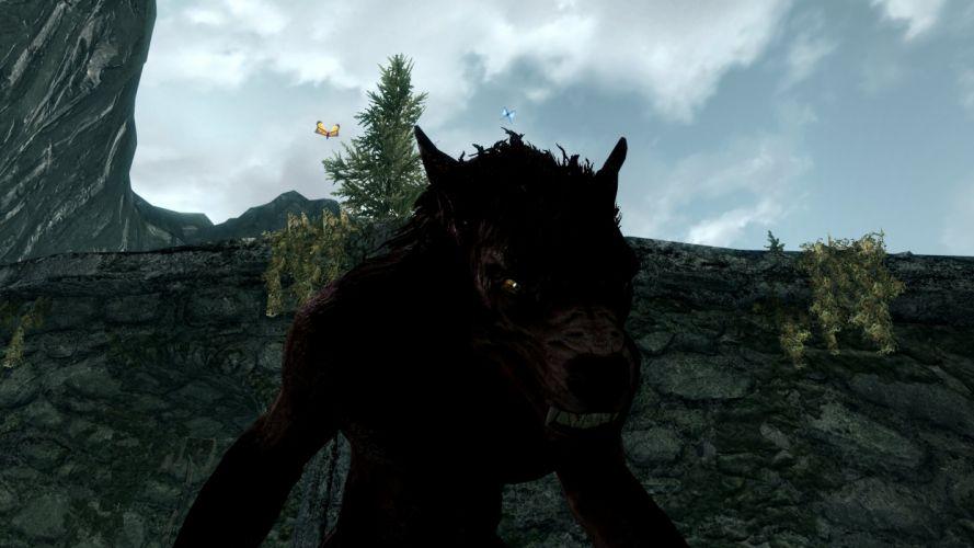 The Elder Scrolls V Skyrim Warewolf Teeth Sky Butterfly Ruins wallpaper