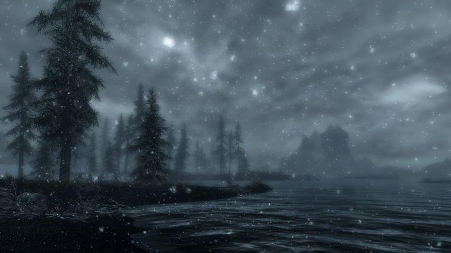 The Elder Scrolls V Skyrim Castle Volkihar Sea Tree Snow Water Clouds wallpaper