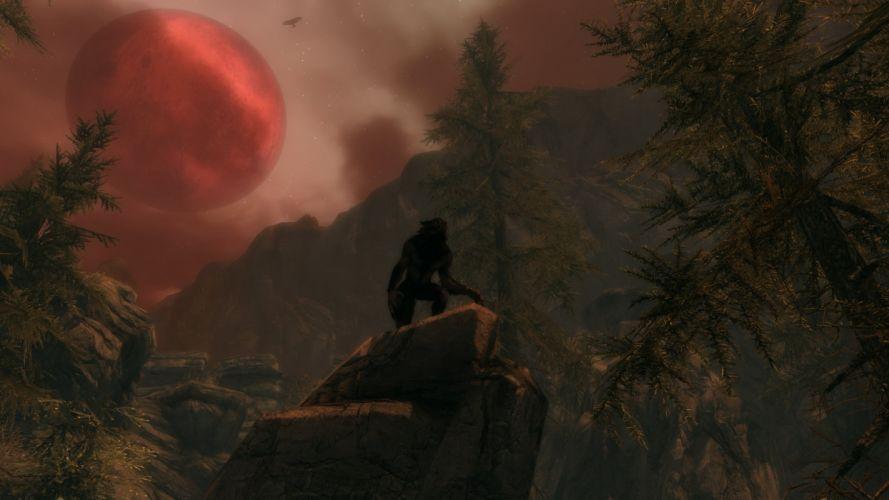 The Elder Scrolls V Skyrim Warewolf Red Full Moon Tree wallpaper