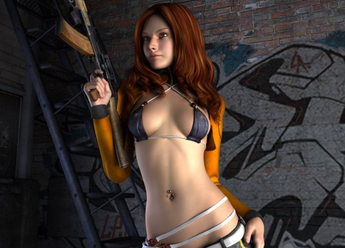 3D rendering eyes gun sensuality women girl redhead wallpaper