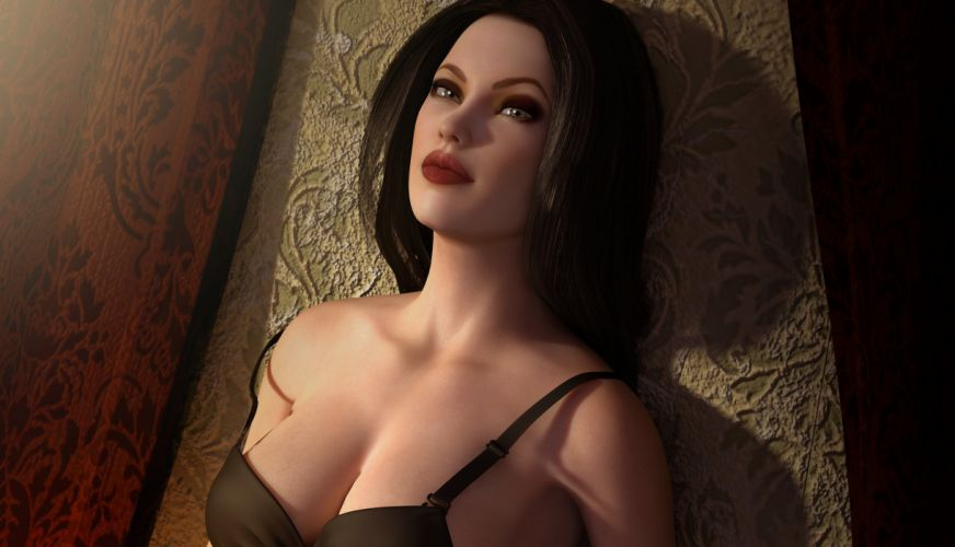 3D rendering face hair lips sensuality women girl brunette wallpaper