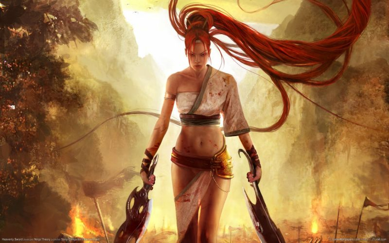 Arts fire heavenly sword mountains nariko warrior women girls redhead wallpaper