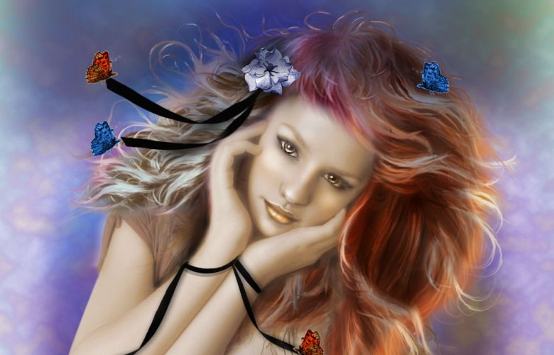 Face arts hair painting butterfly women girls blonde wallpaper