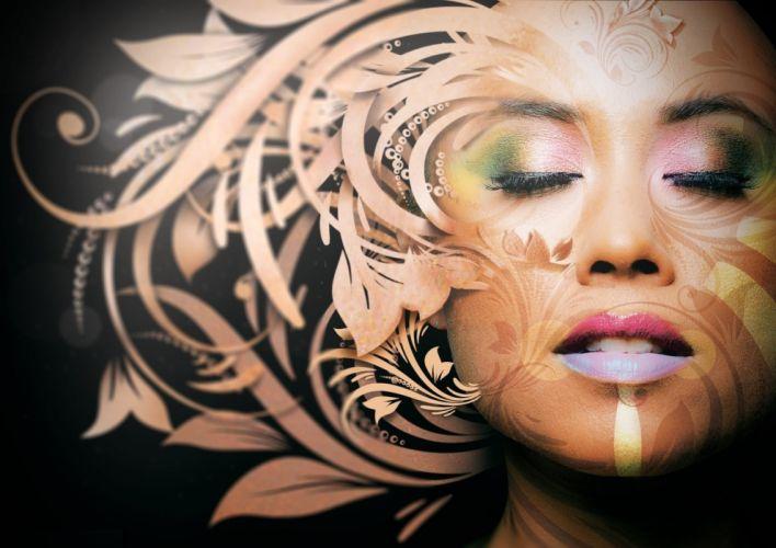 Face arts makeup flowers pattern women girls wallpaper