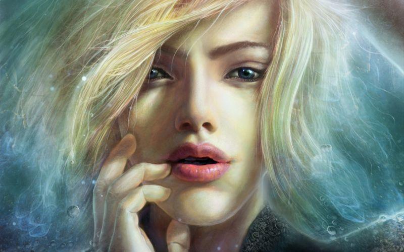 Face arts visual hair fingers women girls blonde wallpaper