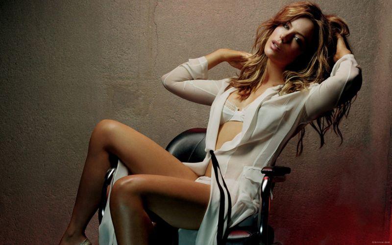 Sensuality Kate Beckinsale chair wall women girls blonde wallpaper