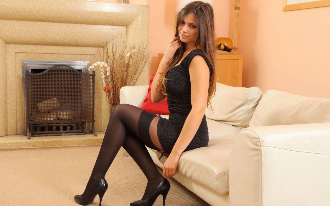 Sensuality Louisa Marie legs stockings couch women girls blonde wallpaper