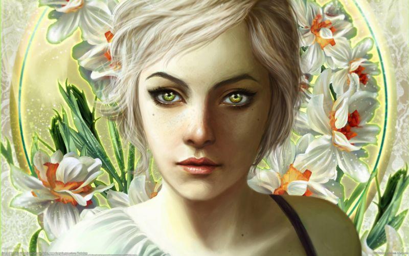 3d art blonde close-up face flower girl wallpaper