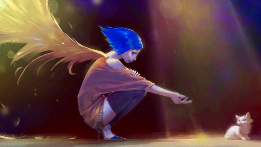 anime angel wings cat sadness rain dark wallpaper