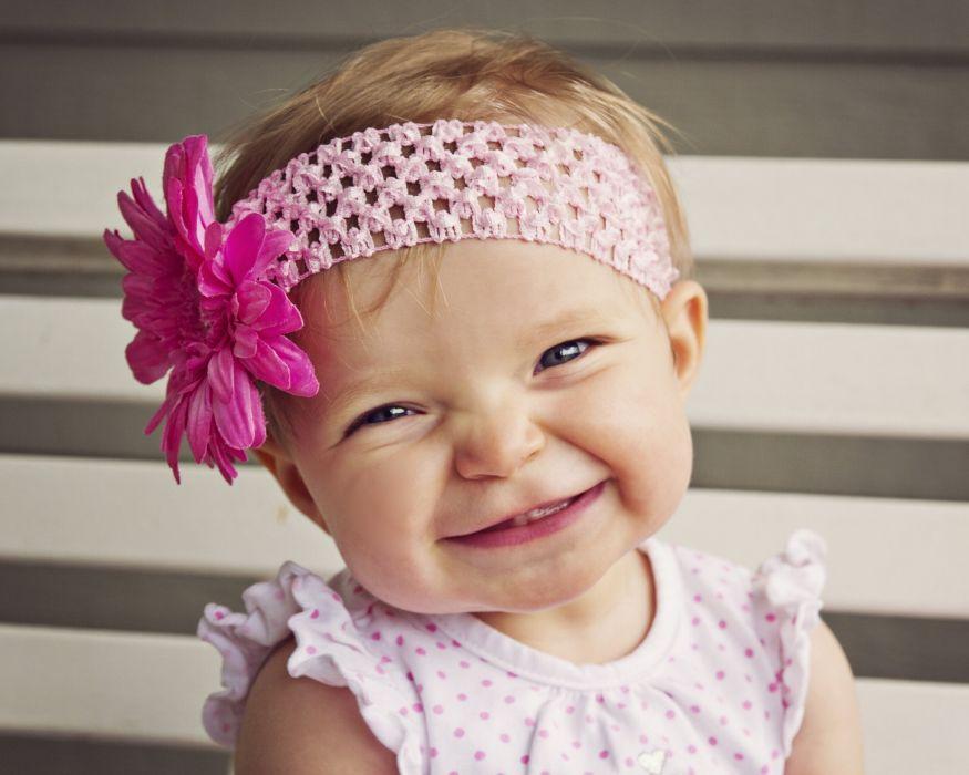 child lovely smile ribbon cute innocence dot shirt blonde flower wallpaper