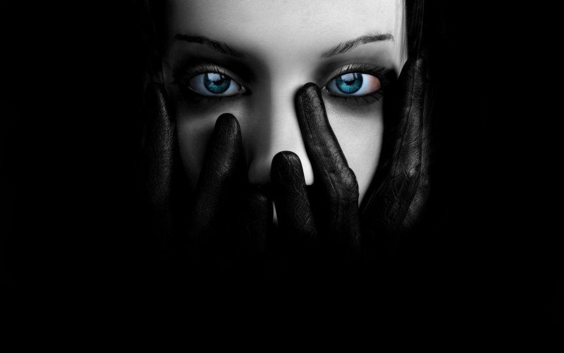 dark blue eyes girl beuty wallpaper