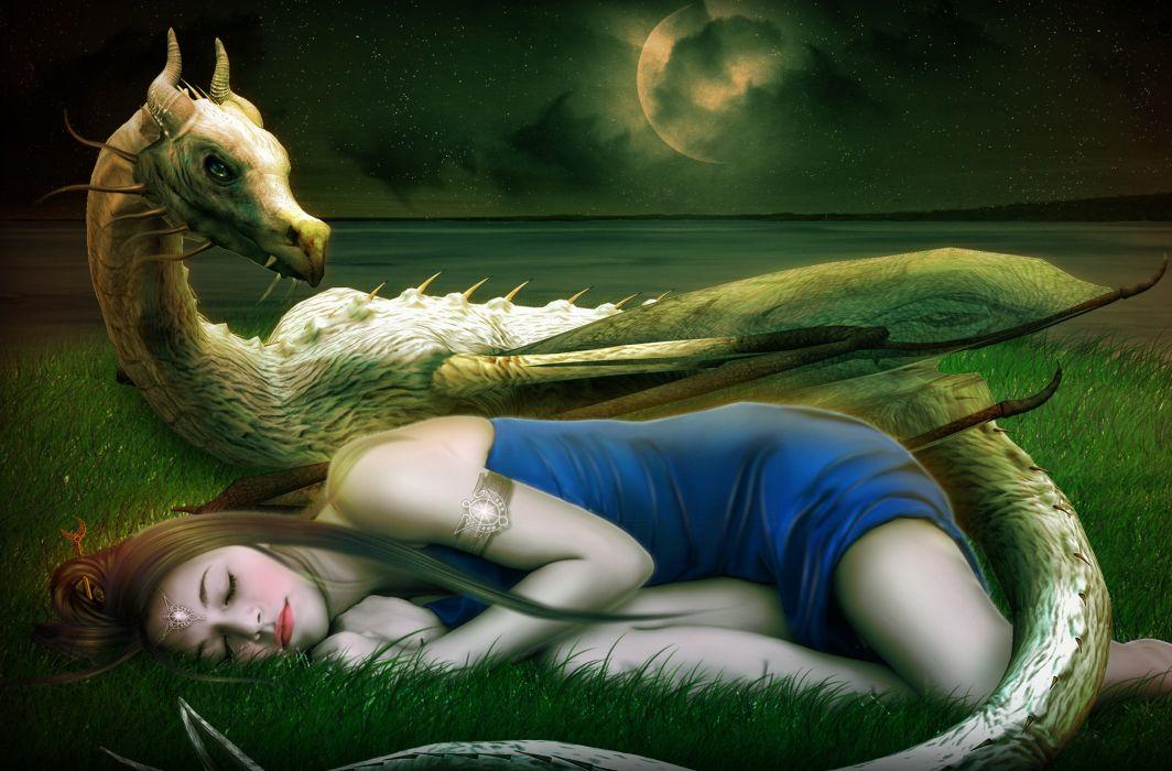 fantasy beautiful asleep Princess dragon horns moon nigt wallpaper