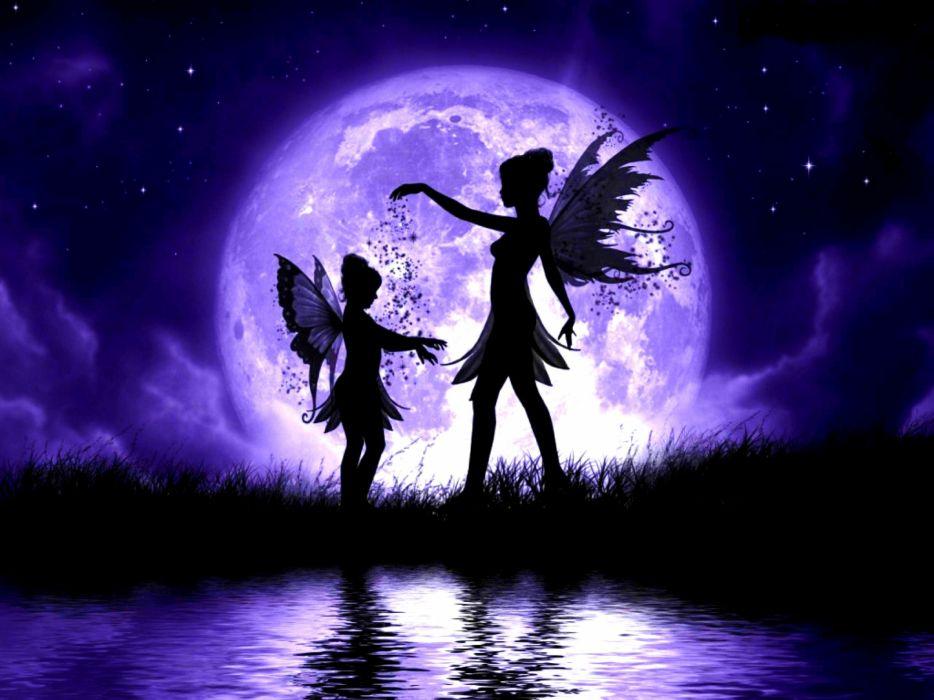 fantasy moon fairy wings girls wallpaper