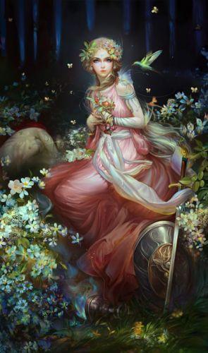 fantasy girl flower fairy dress beautiful wallpaper