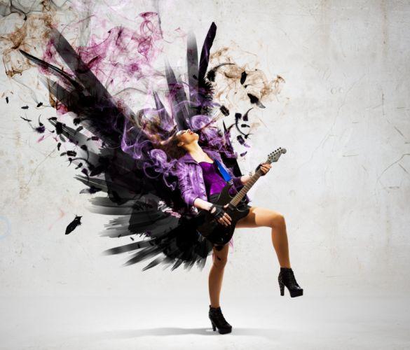 guitar music rock smoke colors wings feather pattern art wallpaper