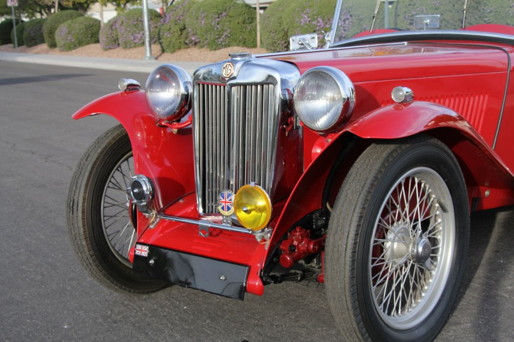 1948 MG TC Sport Roadster Red Classic Old Retro Vintage Original UK -05 wallpaper