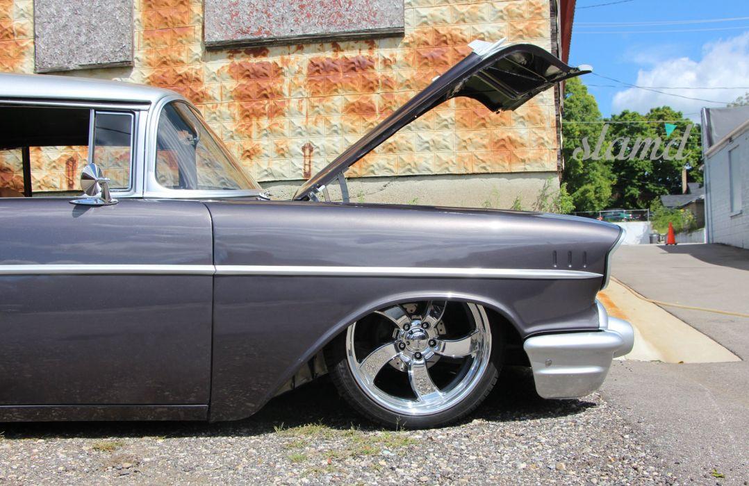 1957 Chevy Bel Air lowrider custom retro d wallpaper