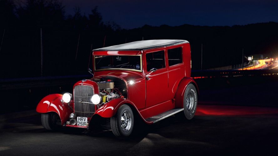 1929 Ford Tudor Sedan Two Door Hotrod Streetrod Hot Rod Street Pro Drag Red USA 1920x1080 wallpaper