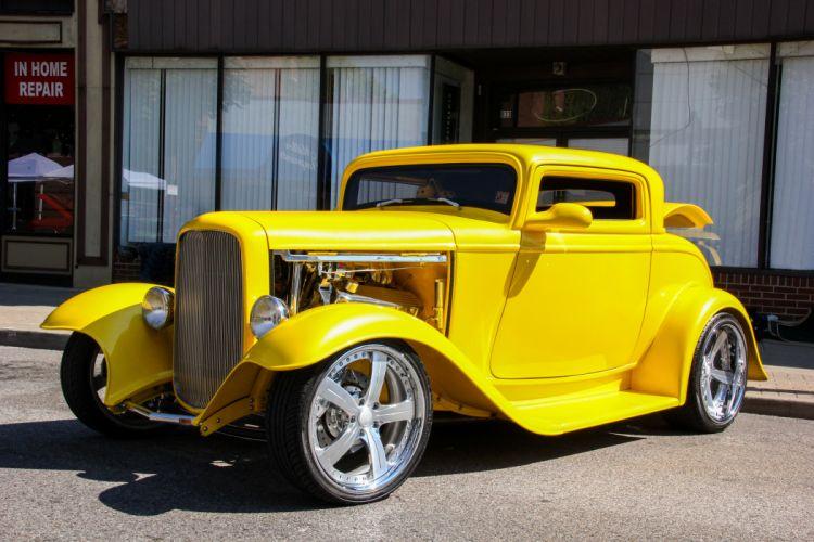 1932 Ford Coupe Three Window Hotrod Streetrod Hot Rod Street Hitech Yellow USA 5184x3456 wallpaper