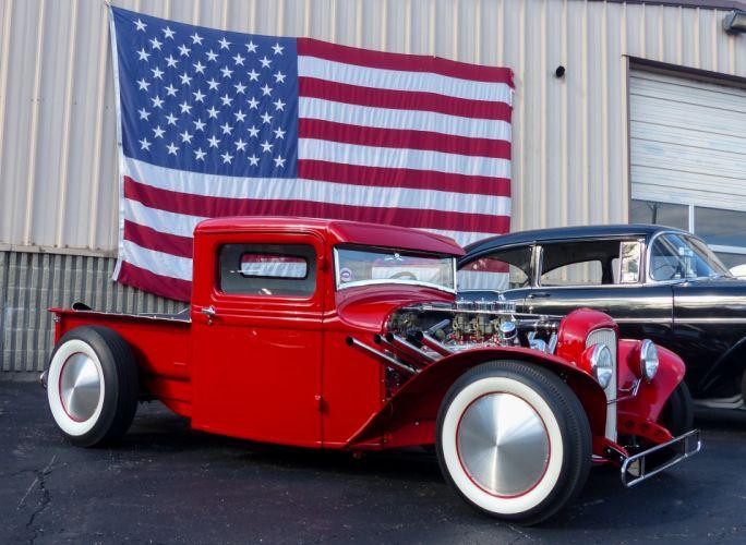 1932 Ford Pickup Hotrod Streetrod Hot Rod Street Custom Old School USA 3611x2638 wallpaper