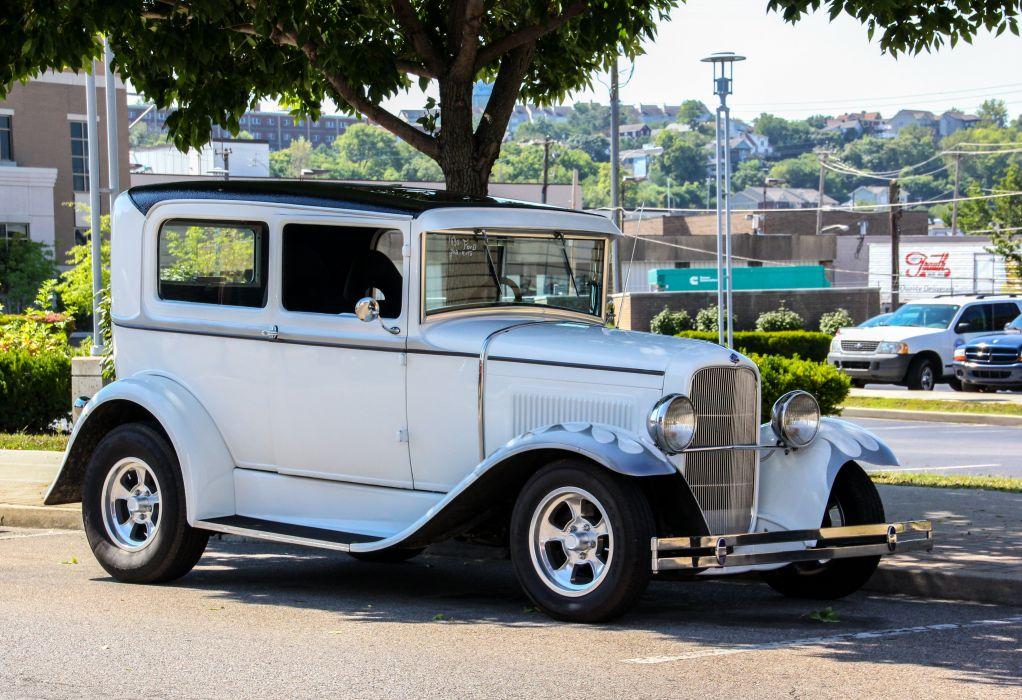 1930 Ford Tudor Sedan Two Door Hotrod Streetrod Hot Rod Street White USA 4914x3366 wallpaper