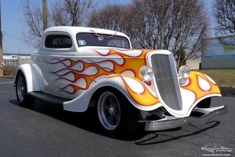 1934 Ford Coupe Three Window Street Rod Hot Streetrod Hotrod USA -01 wallpaper