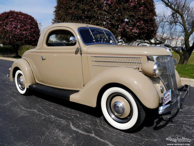 1936 Ford Deluxe Coupe Three Window Classic Old Vintage Original USA -01 wallpaper