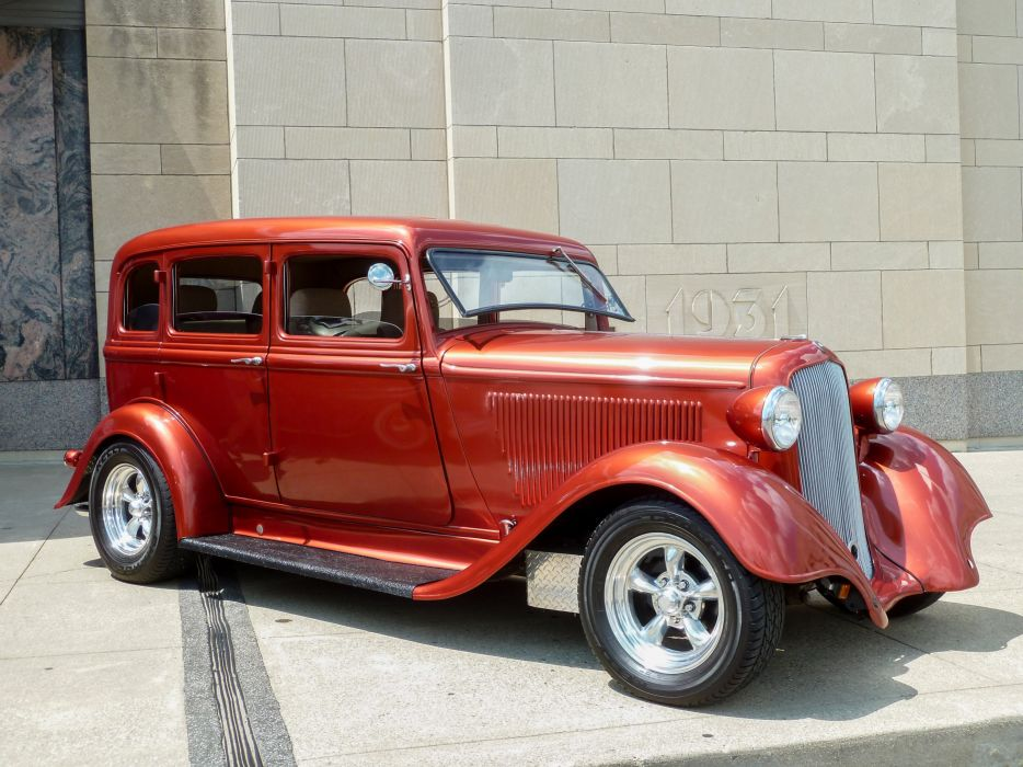1933 Plymouth Sedan Four Door Hotrod Streetrod Hot Rod Street Red USA 4000x3000 wallpaper