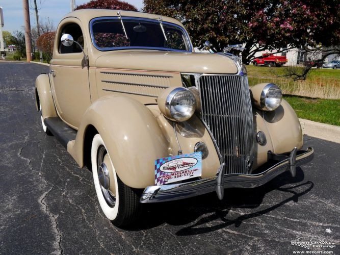 1936 Ford Deluxe Coupe Three Window Classic Old Vintage Original USA -02 wallpaper