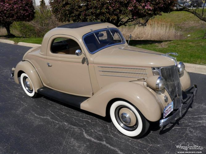 1936 Ford Deluxe Coupe Three Window Classic Old Vintage Original USA -09 wallpaper
