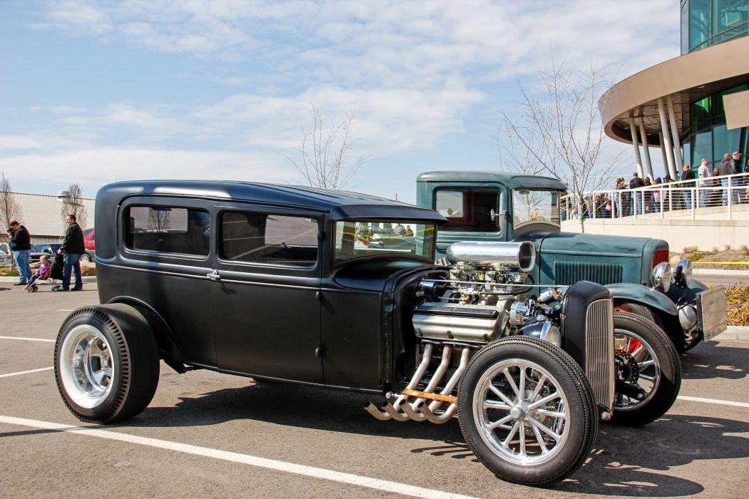 1932 Ford Tudor Sedan Two Door Hightboy Hotrod Hot Rod Custom Old School Primer Black USA 5183x3456-01 wallpaper