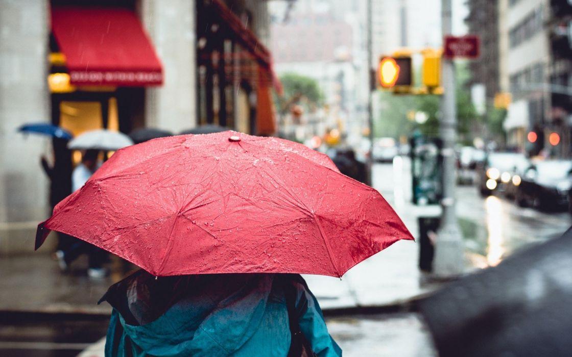 umbrella people rain sadness city street mood wallpaper