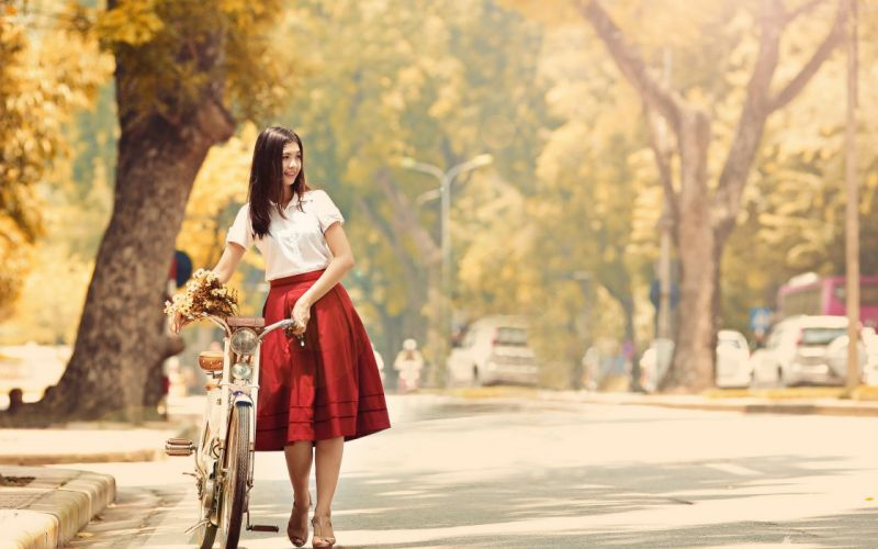 photo vintage bicycle classic red dress summer street autumn girl beautiful wallpaper