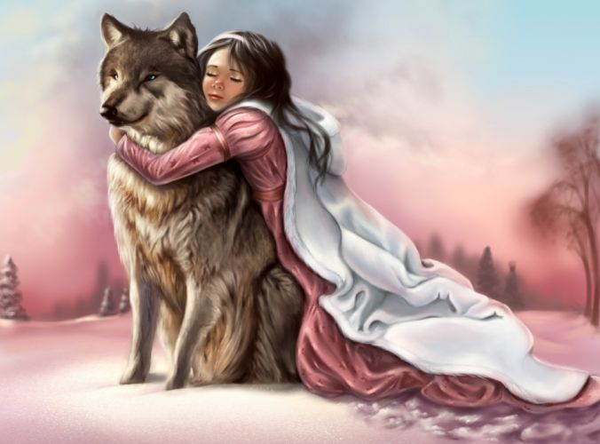 painting fantasy girl pink dress face eyes closed hands hugging wolf animal snow winter wallpaper