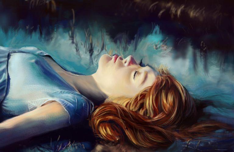 painting fantasy girl face eyes closed hair red fog beautiful wallpaper
