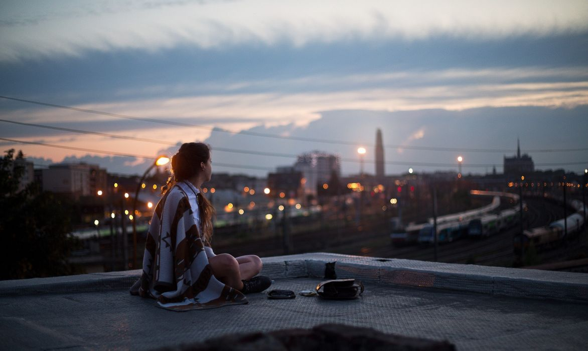 rooftops women people cities wallpaper
