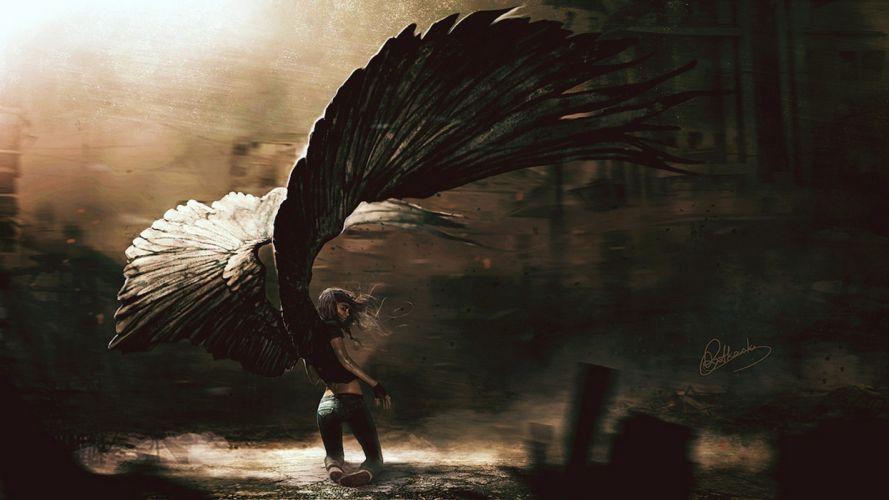 fallen angel girl beautiful wings long hair wallpaper