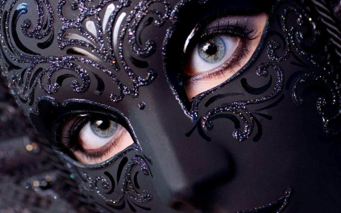 venetian masks black blue eyes girl face beautiful wallpaper